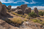 34.9 million years ago, a huge volcano eruption deposited the rock that became Kneeling Nun Tuff, which forms the pinnacles of City of Rocks State Park, located between Silver City and Deming in the Chihuahuan Desert, New Mexico, USA