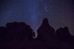 Starry night sky with Milky Way Galaxy above the rock formations in City of Rocks State Park, located between Silver City and Deming in the Chihuahuan Desert, New Mexico, USA