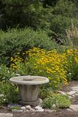 63821-23015 Bird bath in flower garden, Marion Co., IL