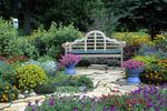 63821-07803 Bench & Bird House in Bird & Butterfly Flower Garden  Marion Co.  IL