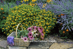 63821-08207 Cut bouquet in basket with gloves & dragonfly yard ornament in flower garden  Marion Co.  IL