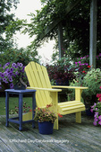63821-14415  Yellow Adirondack chair, blue table with bird house on deck Marion Co.  IL