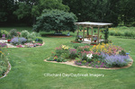 63821-15016 Landscape with island flower beds, deck, bird bath, blue bench, Marion Co. IL