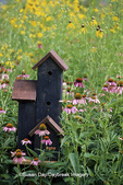 63821-17007 Decorative bird house in flower garden, Marion Co. IL