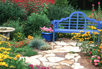 63821-18615 Blue bench, pots and bird bath in flower garden, Marion Co. IL