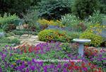 63822-005.11 Bird Bath & bouquet in basket on chair in bird & butterfly flower garden Marion Co.