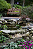 65021-028.03 Shade garden with pond, bench, impatiens, hostas, ferns, Japanese maples, St. Louis  MO