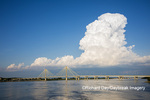 63895-15215 Clark Bridge over Mississippi River and thunderstorm (Cumulonimbus Cloud) Alton, IL