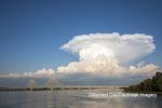 63895-15305 Clark Bridge over Mississippi River and thunderstorm (Cumulonimbus Cloud) Alton, IL