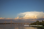 63895-15313 Clark Bridge over Mississippi River and thunderstorm (Cumulonimbus Cloud) Alton, IL