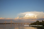 63895-15315 Clark Bridge over Mississippi River and thunderstorm (Cumulonimbus Cloud) Alton, IL