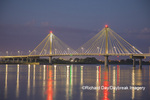 63895-15406 Clark Bridge at dusk-night over Mississippi River Alton, IL