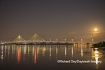 63895-15409 Clark Bridge at night over Mississippi River and full moon Alton, IL