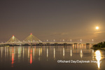 63895-15411 Clark Bridge at night over Mississippi River and full moon Alton, IL