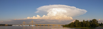 63895-15501 Clark Bridge over Mississippi River and thunderstorm (Cumulonimbus Cloud) Alton, IL