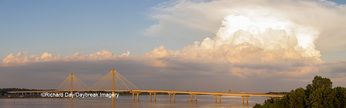 63895-15504 Clark Bridge over Mississippi River and thunderstorm (Cumulonimbus Cloud) Alton, IL