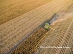 63801-08608 Corn Harvest, John Deere combine harvesting corn - aerial Marion Co. IL