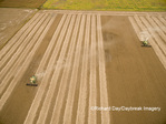 63801-08811 Soybean Harvest, 2 John Deere combines harvesting soybeans - aerial - Marion Co. IL