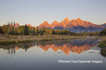 67545-09503 Sunrise at Schwabacher Landing in fall, Grand Teton National Park, WY