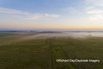 63893-03608 Sunrise over prairie with fog aerial view Marion Co. IL