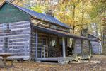 63895-16420 Cabin at Log Cabin Village in fall Kinmundy IL