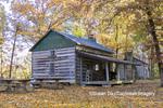 63895-16501 Cabin at Log Cabin Village in fall Kinmundy IL