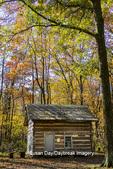 63895-16515 Cabin at Log Cabin Village in fall Kinmundy IL