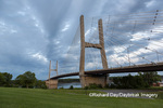 65095-02817 Bill Emerson Memorial Bridge at dusk-night over Mississippi River Cape Girardeau  MO