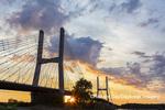 65095-02906 Bill Emerson Memorial Bridge at sunrise over Mississippi River Cape Girardeau  MO