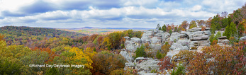 63895-15914 Camel Rock in fall color Garden of the Gods Recreation Area Shawnee National Forest IL