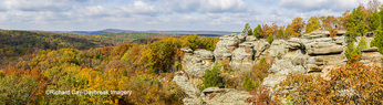 63895-15920 Camel Rock in fall color Garden of the Gods Recreation Area Shawnee National Forest IL
