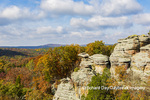 63895-16316 Camel Rock in fall color Garden of the Gods Recreation Area Shawnee National Forest IL