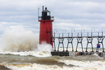 64795-02117 South Haven Lighthouse with high waves crashing South Haven,  MI