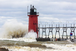 64795-02118 South Haven Lighthouse with high waves crashing South Haven,  MI