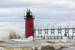 64795-02204 South Haven Lighthouse with high waves crashing South Haven,  MI