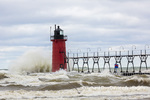 64795-02208 South Haven Lighthouse with high waves crashing South Haven,  MI