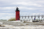 64795-02212 South Haven Lighthouse with high waves crashing South Haven,  MI