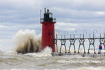 64795-02213 South Haven Lighthouse with high waves crashing South Haven,  MI