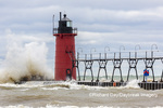 64795-02304 South Haven Lighthouse with high waves crashing South Haven,  MI