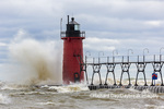 64795-02307 South Haven Lighthouse with high waves crashing South Haven,  MI