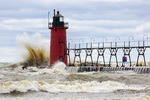 64795-02313 South Haven Lighthouse with high waves crashing South Haven,  MI