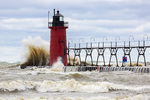 64795-02315 South Haven Lighthouse with high waves crashing South Haven,  MI