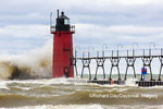 64795-02318 South Haven Lighthouse with high waves crashing South Haven,  MI
