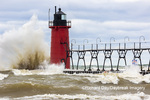 64795-02320 South Haven Lighthouse with high waves crashing South Haven,  MI