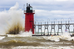 64795-02401 South Haven Lighthouse with high waves crashing South Haven,  MI