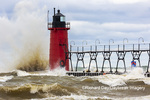 64795-02403 South Haven Lighthouse with high waves crashing South Haven,  MI