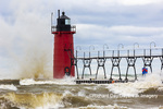 64795-02405 South Haven Lighthouse with high waves crashing South Haven,  MI