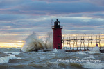 64795-02408 South Haven Lighthouse with high waves crashing South Haven,  MI