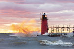 64795-02415 South Haven Lighthouse at sunset South Haven,  MI