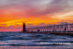64795-02615 South Haven Lighthouse at sunset South Haven,  MI